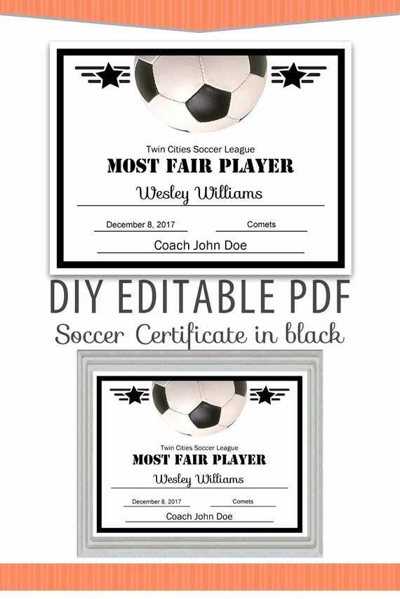 Soccer Awards Template Luxury Editable Pdf Sports Team soccer Certificate Diy Award