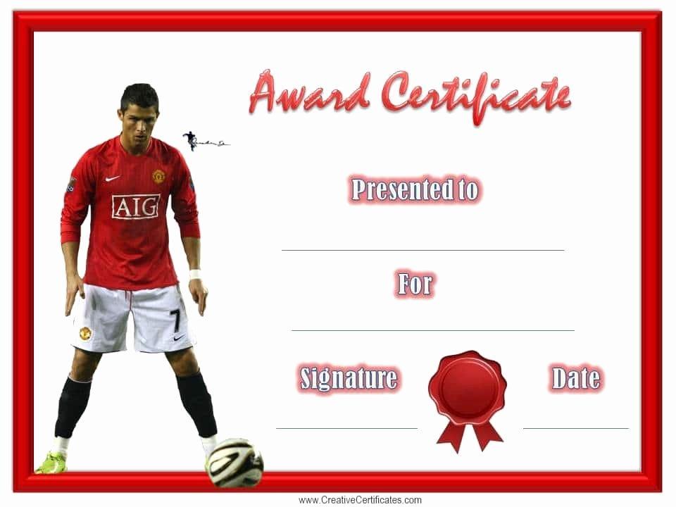 Soccer Awards Template New soccer Award Certificate Template Customize Line
