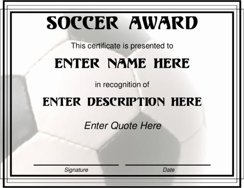 Soccer Awards Template Unique Award Certificate Templates