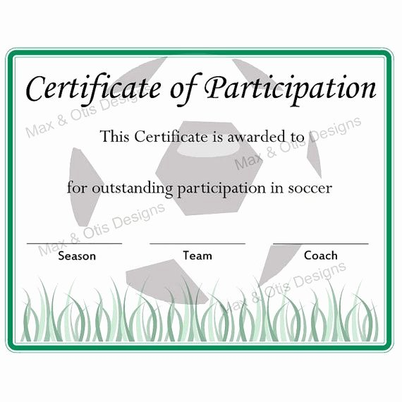 Soccer Awards Template Unique Free Printable soccer Participation Certificate