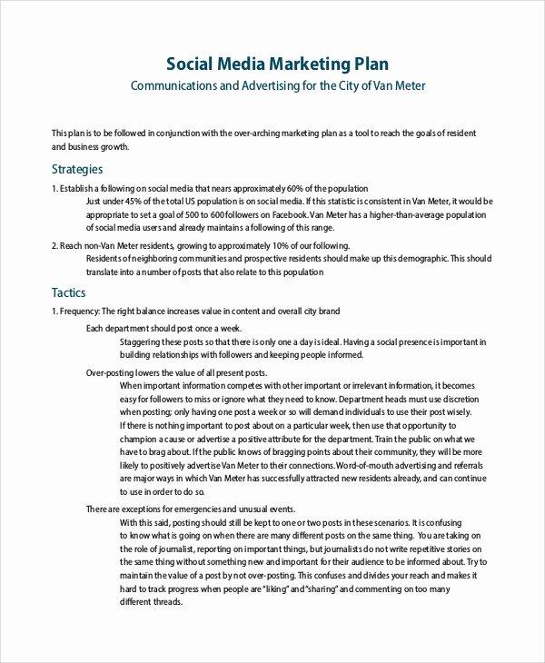 Social Media Marketing Proposal Pdf Fresh Sample social Media Marketing Plan 9 Examples In Pdf