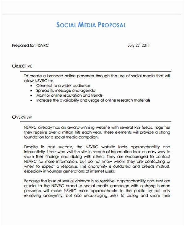 Social Media Marketing Proposal Pdf New 10 social Media Marketing Plan Examples Pdf
