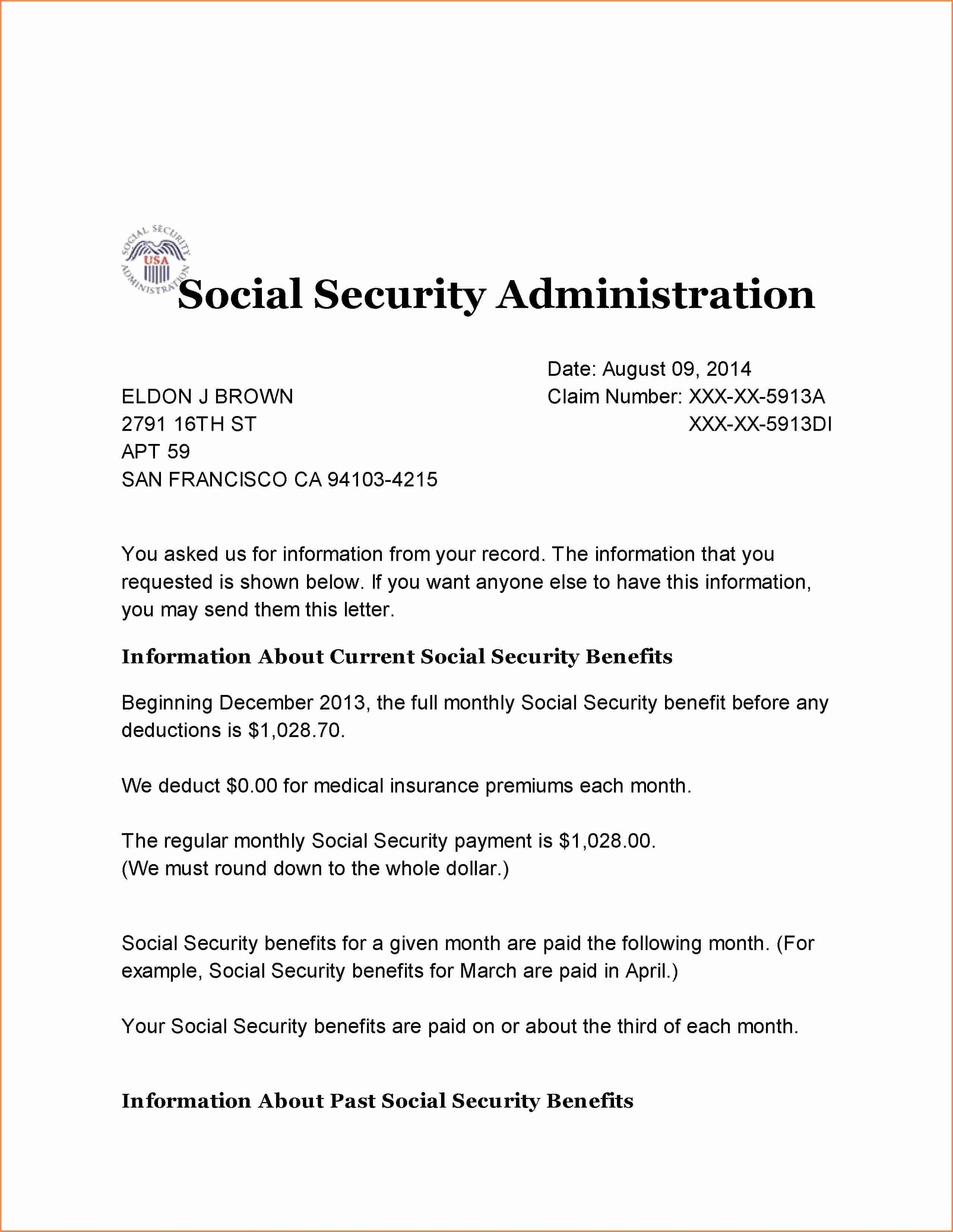 Social Security Award Letter Example Awesome Ssi Award Letter 2018