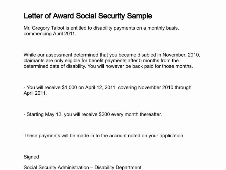 Social Security Award Letter Example Beautiful Letter Of Award