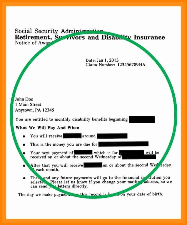 Social Security Award Letter Example Inspirational Award Letter social Security Sample