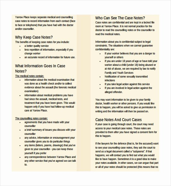 Social Work Case Notes Template New Case Notes Template – 7 Free Word Pdf Documents Download
