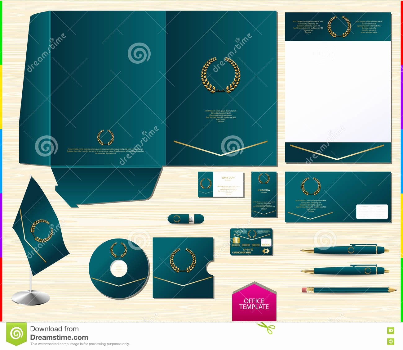 Souvenir Booklet Template Microsoft Word Unique Vector Royal Turquoise Corporate Id Brand Book Template