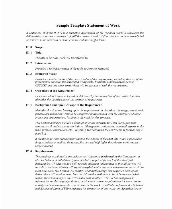 Sow Template Doc Awesome Statement Of Work Template 13 Free Pdf Word Excel