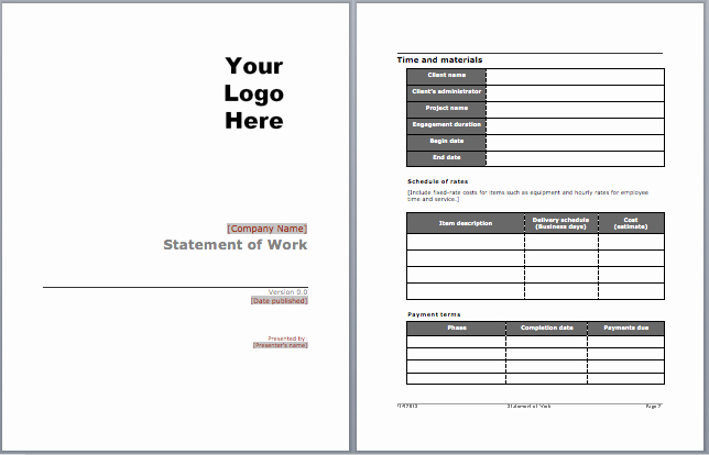 Sow Template Doc Awesome Statement Of Work Template Microsoft Word Templates