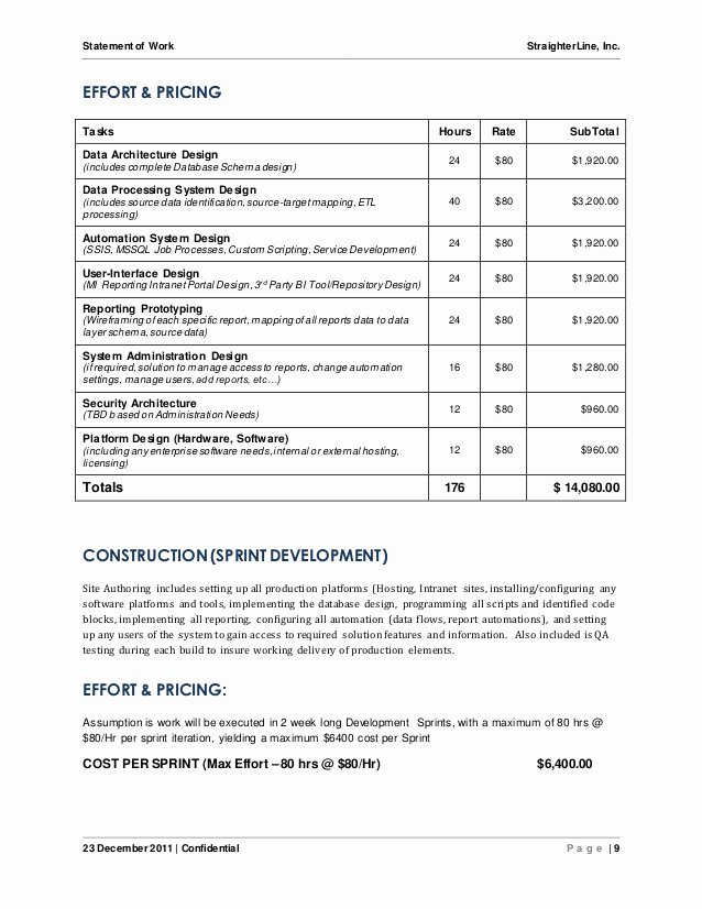 Sow Template Doc Beautiful software Project Statement Of Work Document Sample