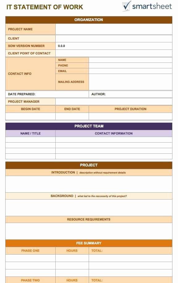 Sow Template Doc Elegant 5 Statement Work Templates Word Free Sample Templates