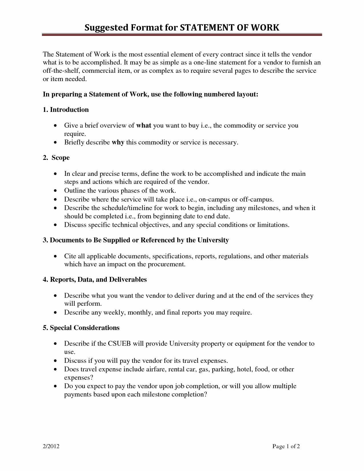 Sow Template Doc Inspirational Statement Work Template