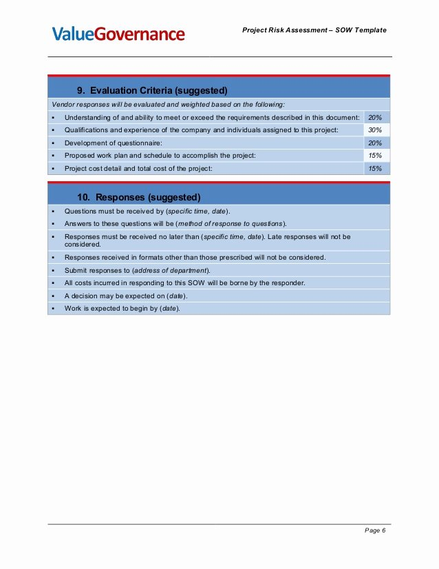 Sow Template Doc Unique Pm Pm001 04 Risk assessment sow Template