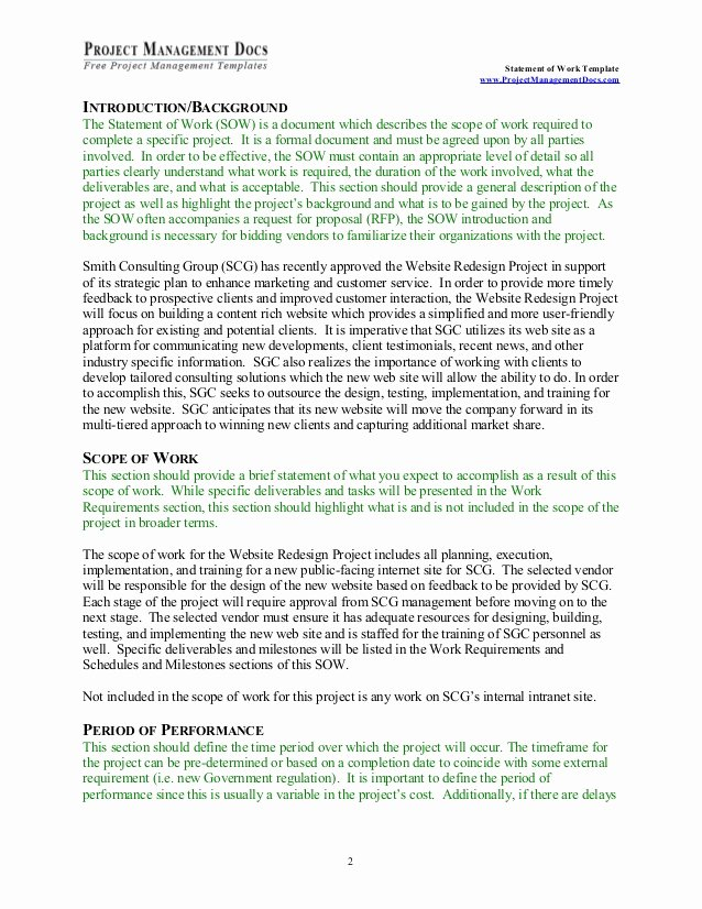 Sow Template Doc Unique Statement Of Work