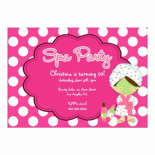 "Spa Day Invitation Awesome Cute Spa Day Birthday Party Invitation 5"" X 7"" Invitation"