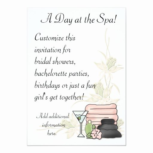 Spa Day Invitation Awesome Spa Day 5x7 Paper Invitation Card