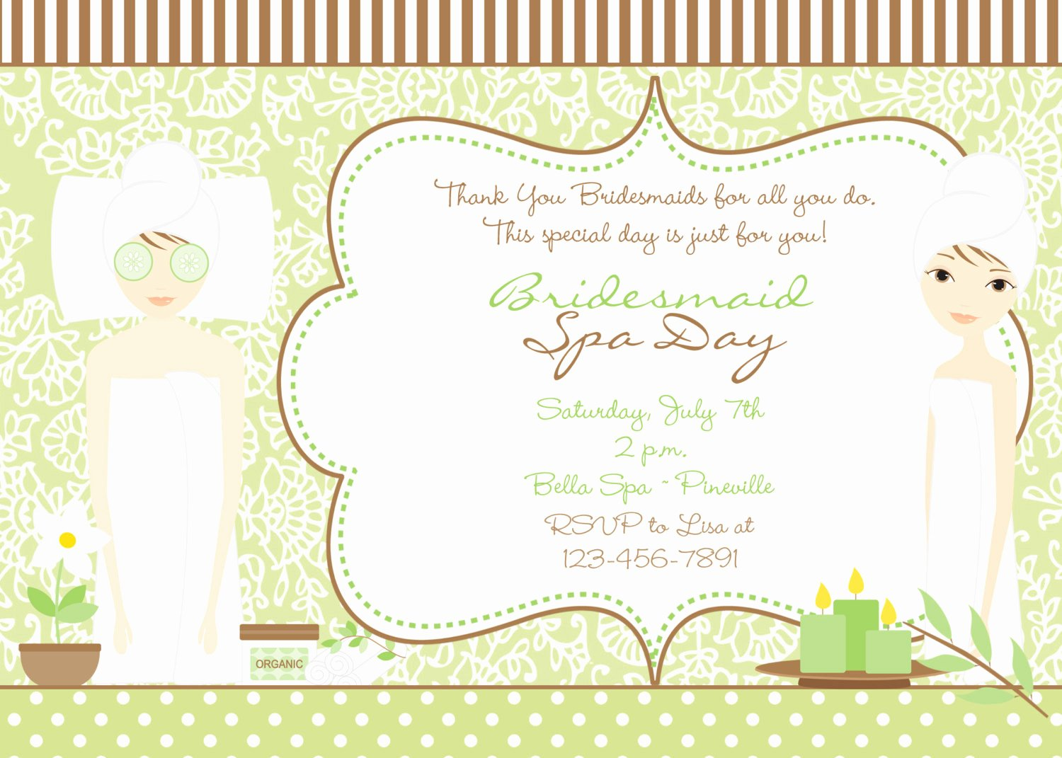 Spa Day Invitation Beautiful Spa Bridal Shower Invitation Green and Brown Bridal Spa Day