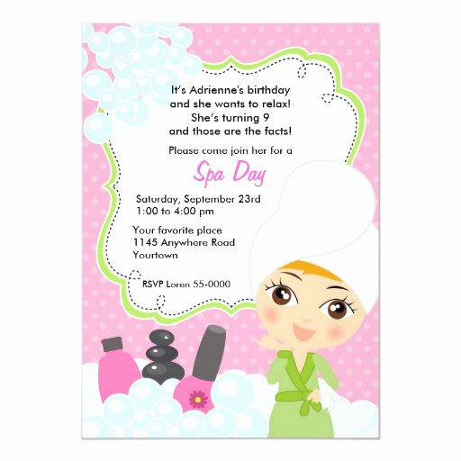 Spa Day Invitation Best Of Cute Girls Spa Day Birthday Invitation