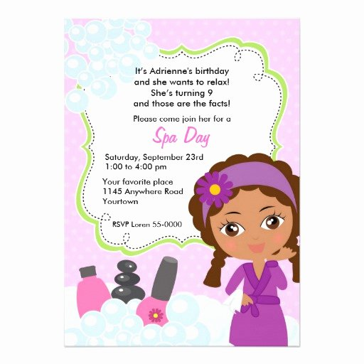 "Spa Day Invitation Elegant Ethnic Girls Spa Day Birthday Invitation 5"" X 7"