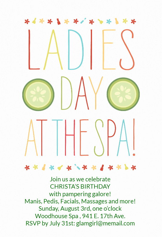 Spa Day Invitation Elegant La S Day at the Spa Birthday Invitation Template Free
