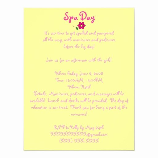 Spa Day Invitation Elegant Spa Day Invitation