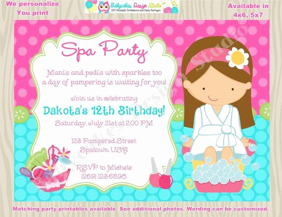 Spa Day Invitation Elegant Spa Party Invitation Spa Birthday Invitation Invite Spa Day
