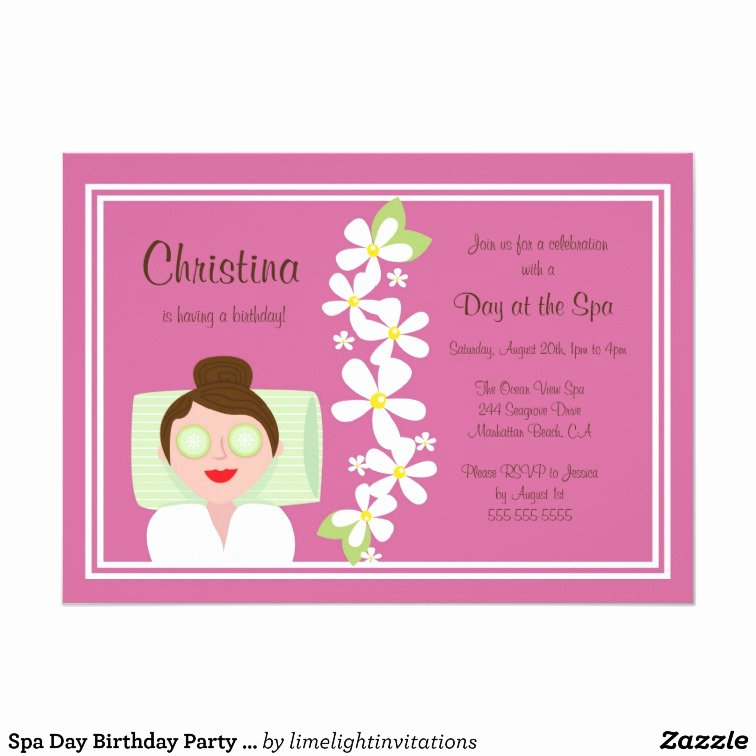 Spa Day Invitation Inspirational Spa Day Birthday Party Invitation
