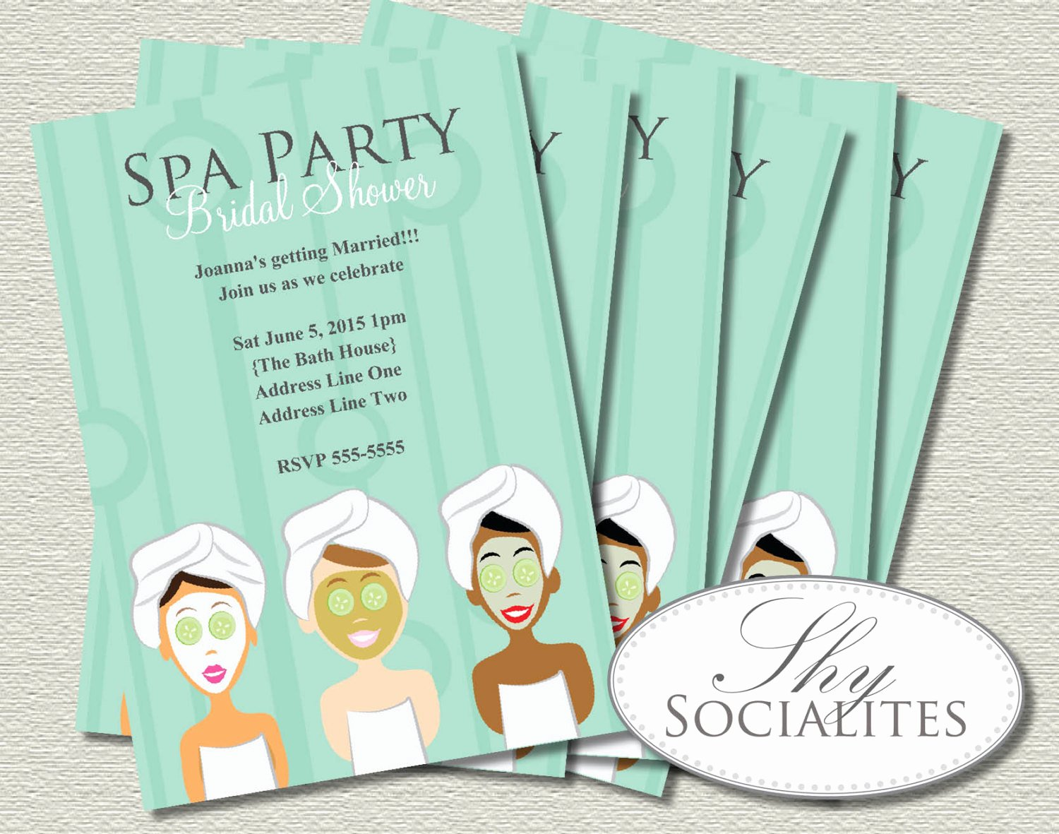 Spa Day Invitation Luxury Spa Party Invitation Pedicure Pamper Manicure Spa Day