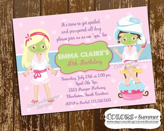 Spa Day Invitation New Spa Birthday Invitation Spa Day Pamper Invite Girls