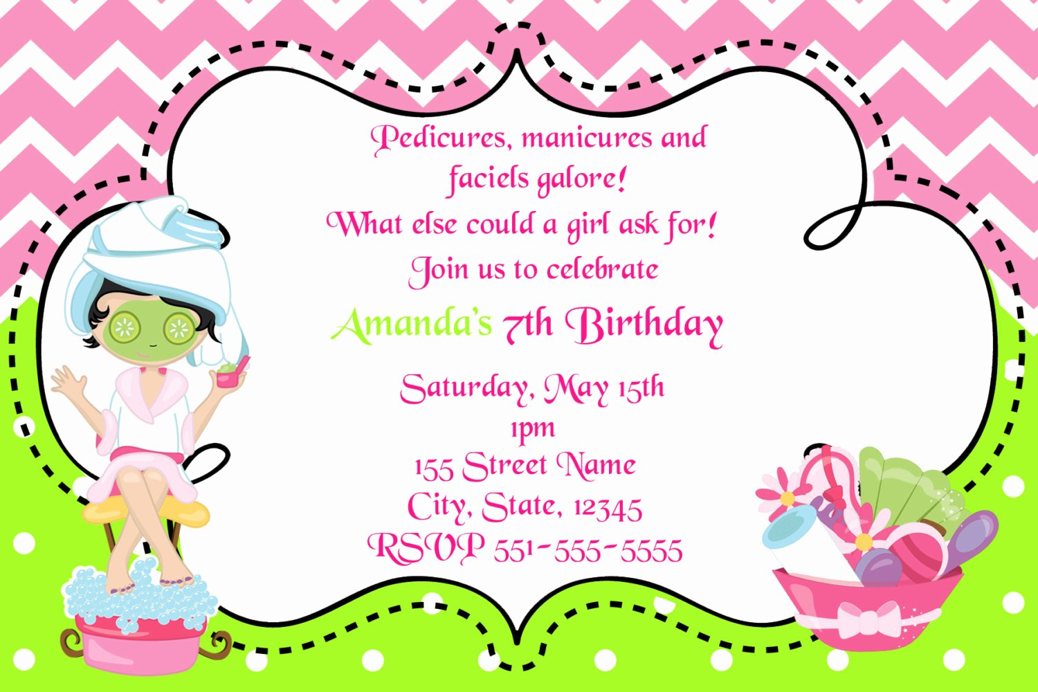 Spa Day Invitation New Spa Day Birthday Invitation Girls Birthday Invitations