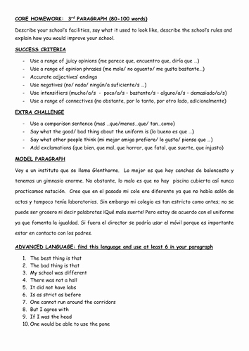 Spanish Essay About Yourself Lovely Gcse Paragraph Writing School Facilities and School Rules