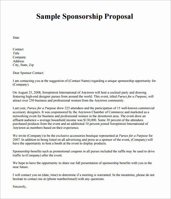Sponsorship Packet Template Awesome 19 Sample Sponsorship Proposal Templates
