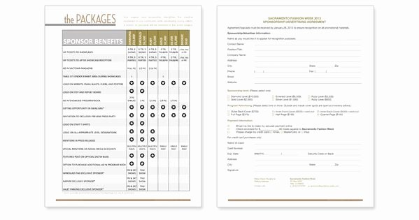 Sponsorship Packet Template Awesome Fashion Sponsorship Package Design