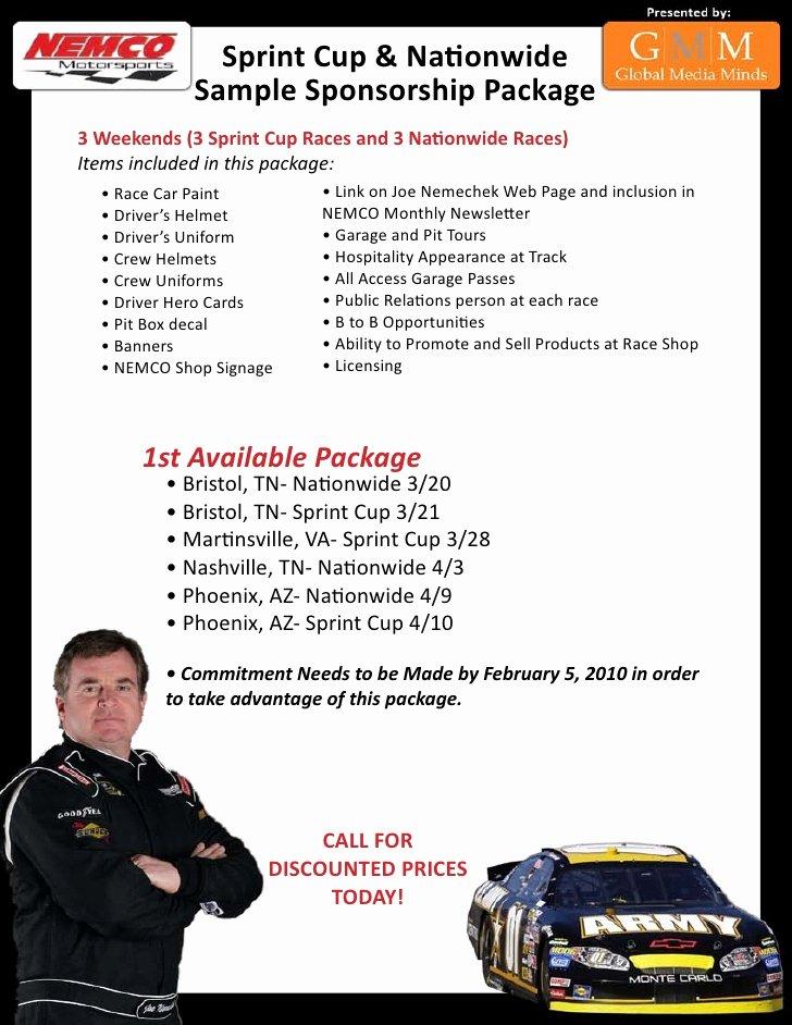 Sponsorship Packet Template Elegant Nascar Sponsorship Package