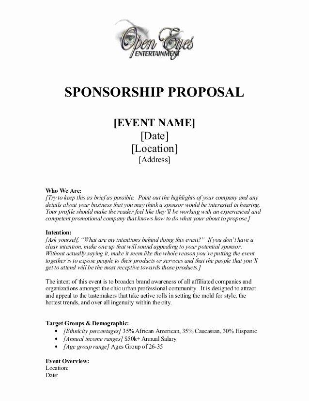 Sponsorship Packet Template Elegant Sponsorship Proposal