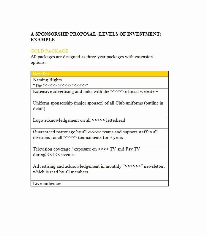 Sponsorship Packet Template Inspirational 40 Sponsorship Letter & Sponsorship Proposal Templates