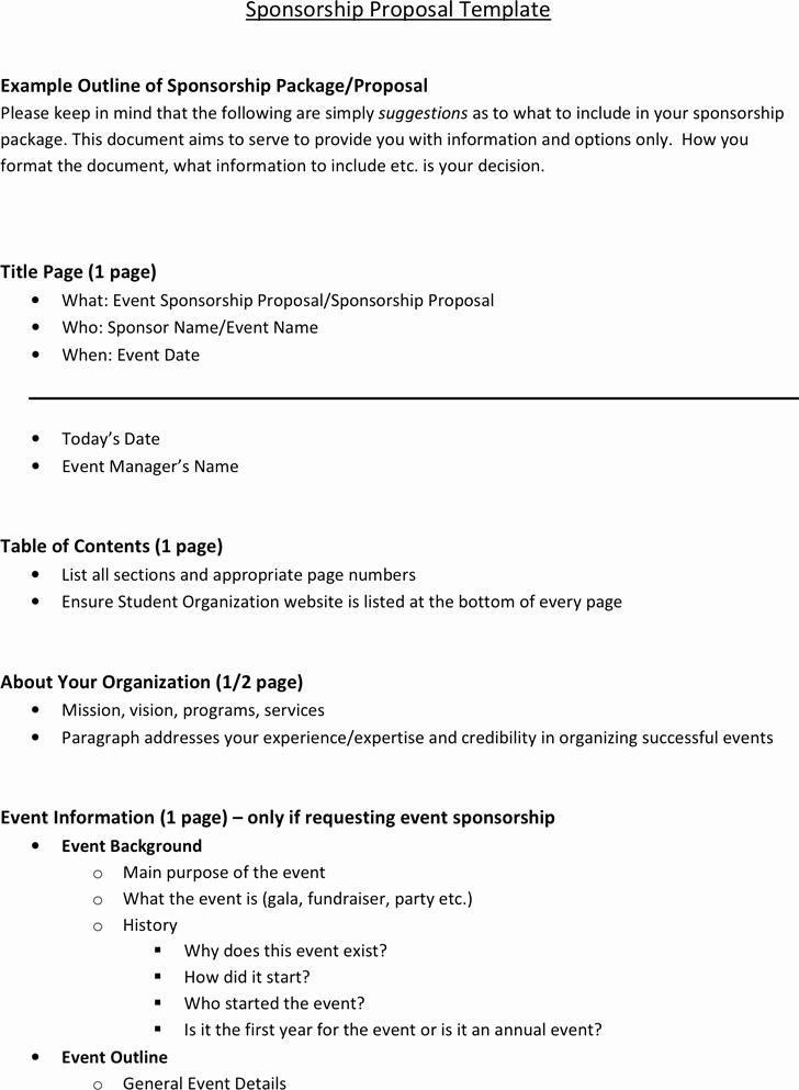 Sponsorship Packet Template Unique 6 Sponsorship Proposal Templates Excel Pdf formats
