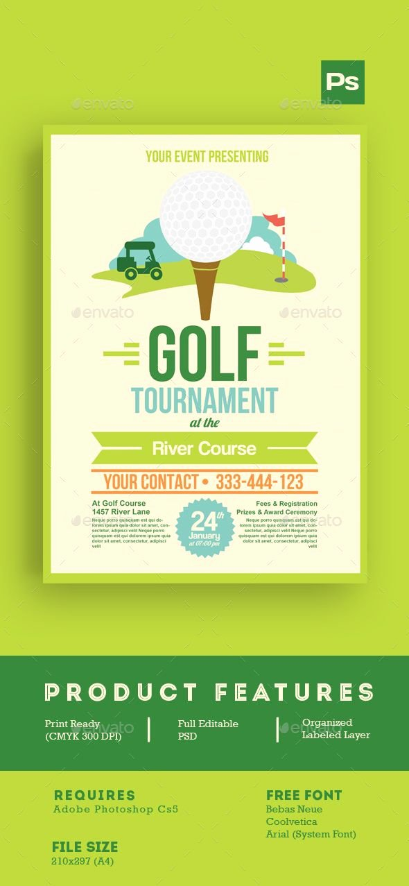 Sports Illustrated Cover Template Photoshop Beautiful Golf tournament Flyer Tamplate