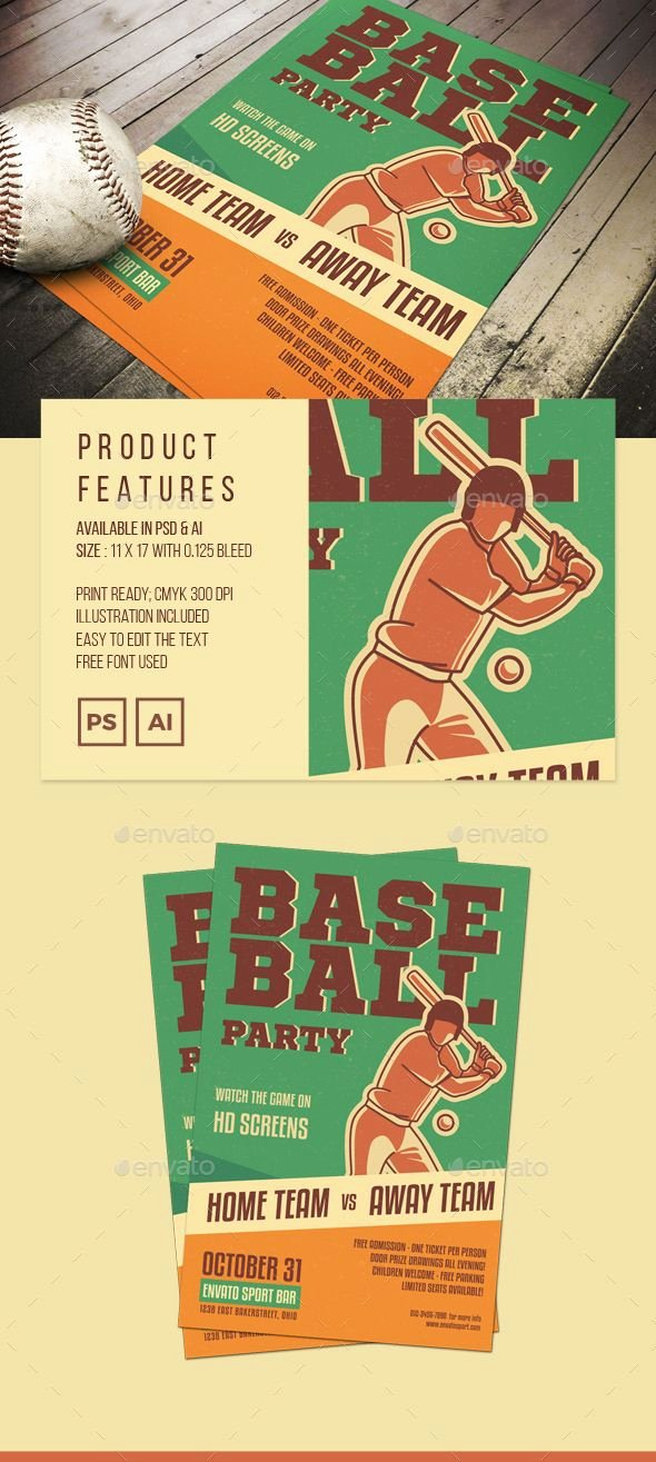 Sports Illustrated Templates New Illustrated Baseball Poster or Flyer Template Psd Ai