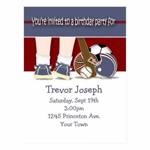 Sports Invitation Template Awesome All Sports Birthday Invitation Template Postcard
