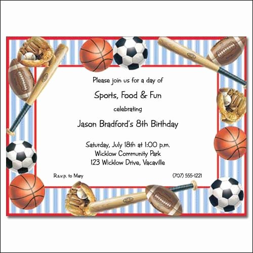 Sports Invitation Template Awesome Cool Sports Birthday Invitations Ideas
