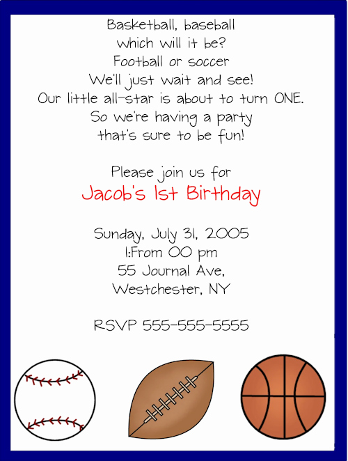 Sports Invitation Template Fresh Sports Birthday Party Invitation Templates