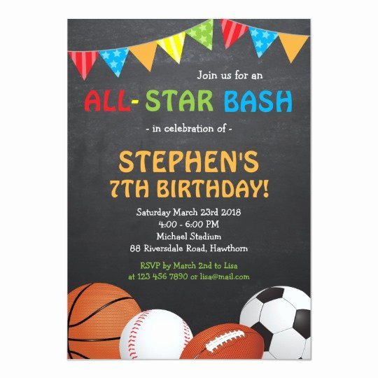 Sports Invitation Template Luxury Sports Birthday Invitation Sports Invitation