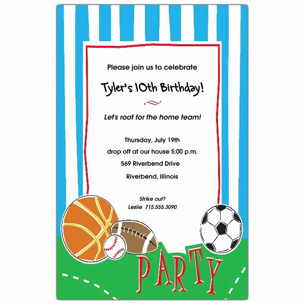 Sports Invitation Template New Free Printable Sports Birthday Invitations