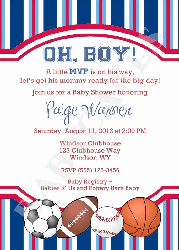 Sports Invitation Template New Sports theme Baby Shower Invitation Diy Print Your by
