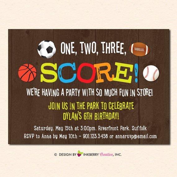 Sports Invitation Template Unique Final Score Sports theme Birthday Party Invitation