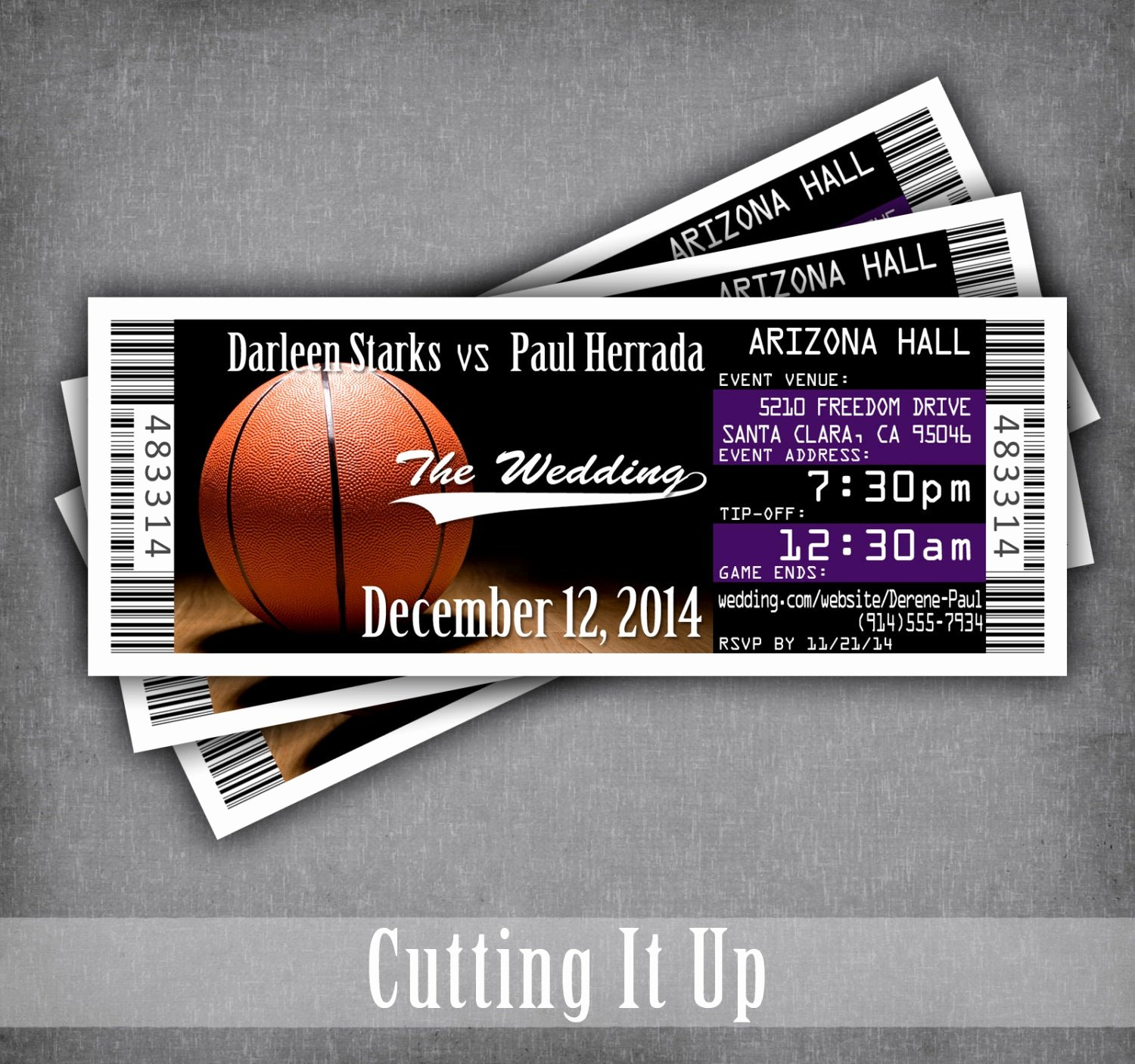 Sports Ticket Invitation Awesome Basketball Wedding Ticket Invitations Sports theme Invitation