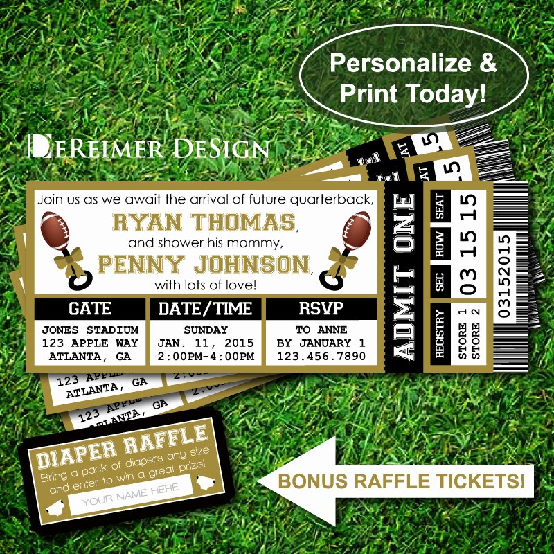 Sports Ticket Invitation Awesome Sports Ticket Baby Boy Shower Invitation All Star Baby