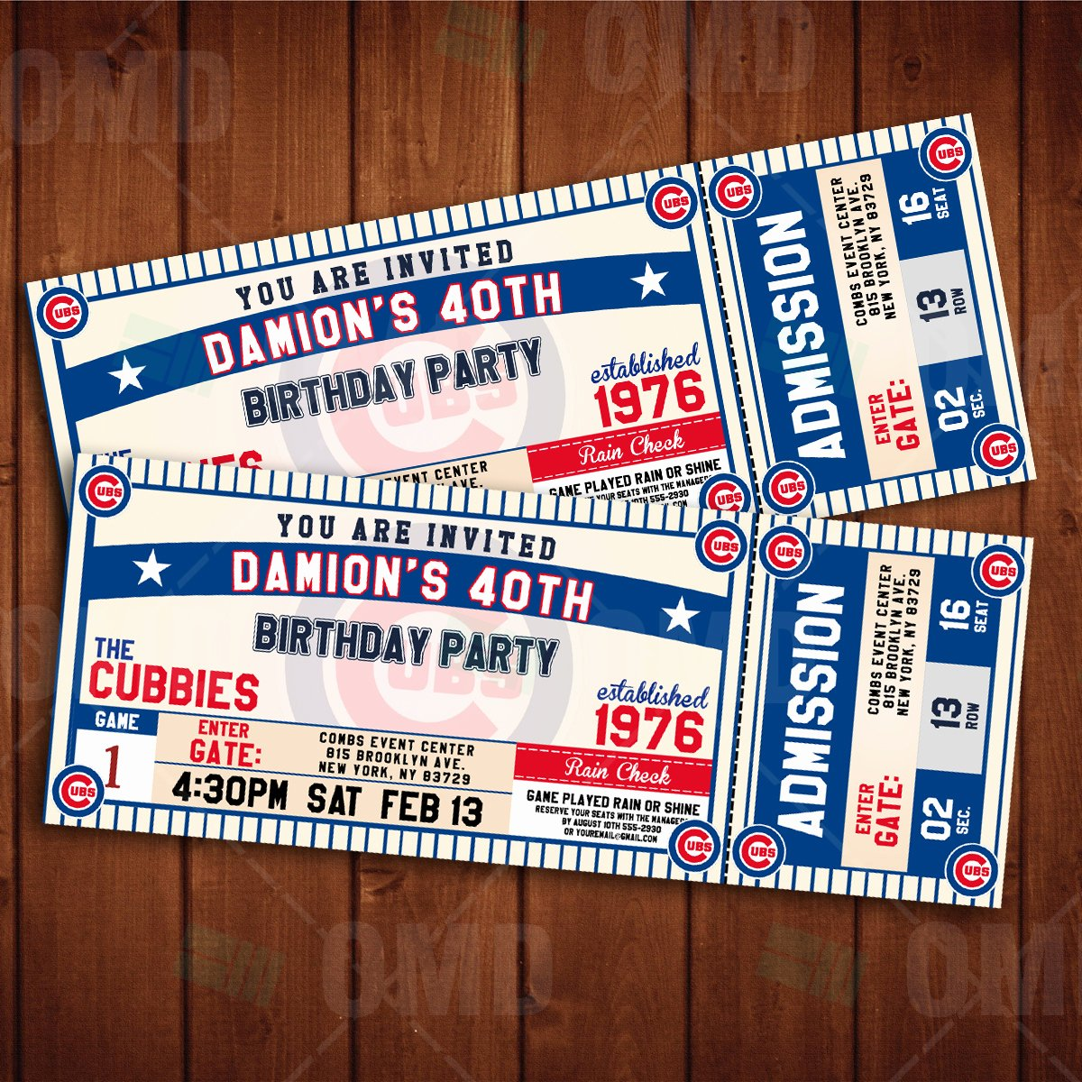 Sports Ticket Invitation Fresh Chicago Cubs Ticket Style Sports Party Invitations