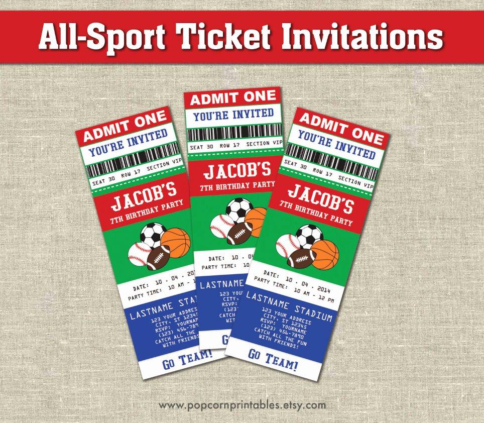 Sports Ticket Invitation Inspirational All Star Sports Ticket Invitations Printables Editable Text